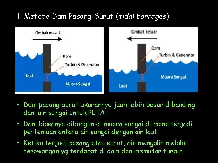 1. Metode Dam Pasang-Surut (tidal barrages) • Dam pasang-surut ukurannya jauh lebih besar dibanding