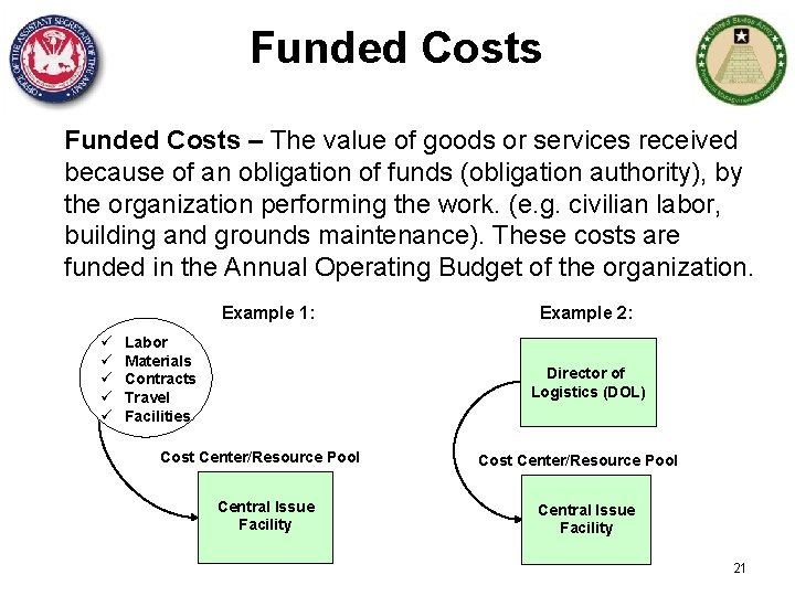 Funded Costs – The value of goods or services received because of an obligation