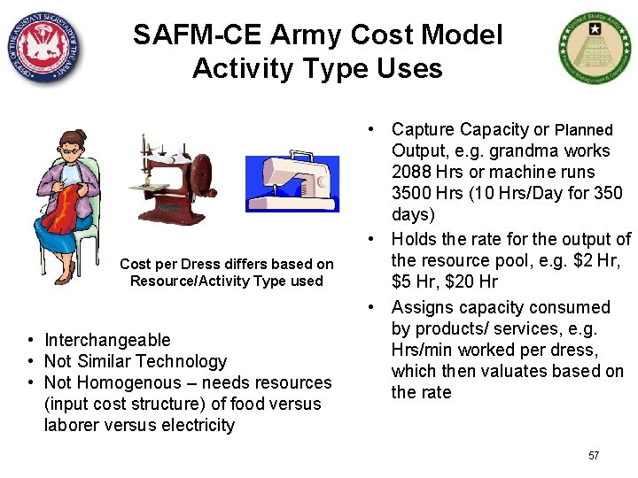 SAFM-CE Army Cost Model Activity Type Uses Cost per Dress differs based on Resource/Activity