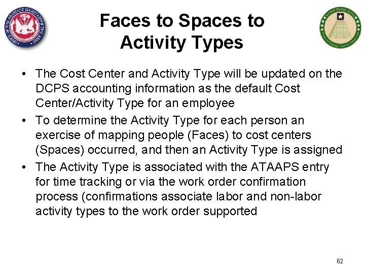 Faces to Spaces to Activity Types • The Cost Center and Activity Type will
