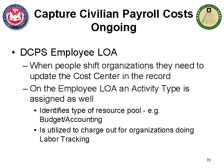 Capture Civilian Payroll Costs Ongoing • DCPS Employee LOA – When people shift organizations