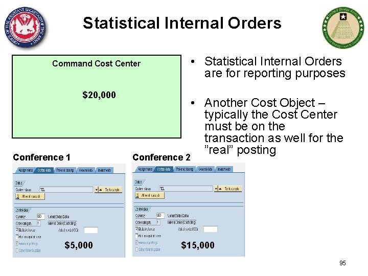 Statistical Internal Orders • Statistical Internal Orders are for reporting purposes Command Cost Center