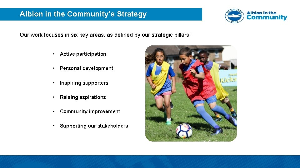 Albion in the Community's Strategy Our work focuses in six key areas, as defined