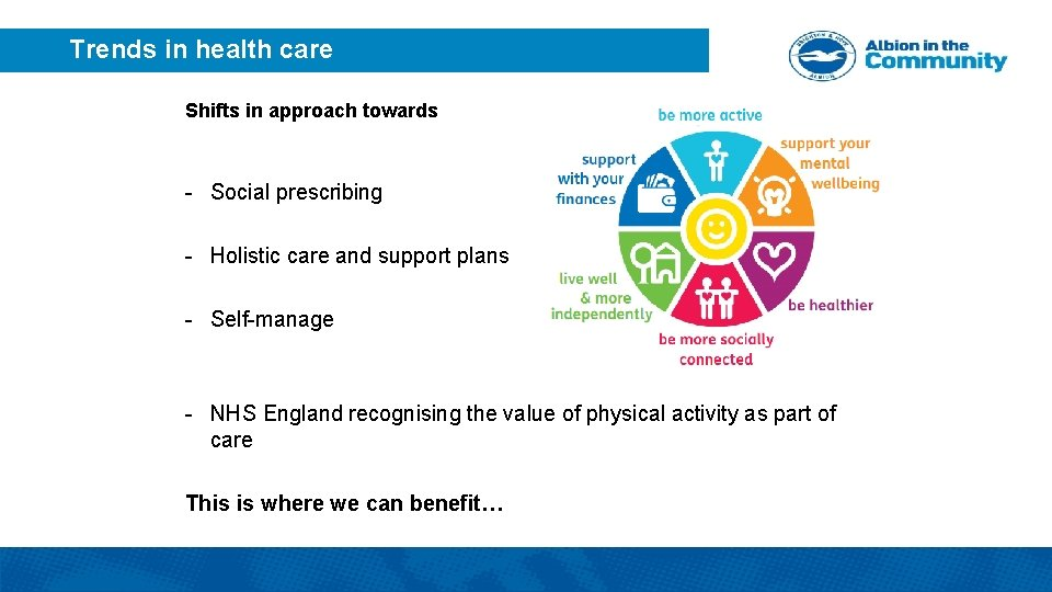 Trends in health care Shifts in approach towards - Social prescribing - Holistic care