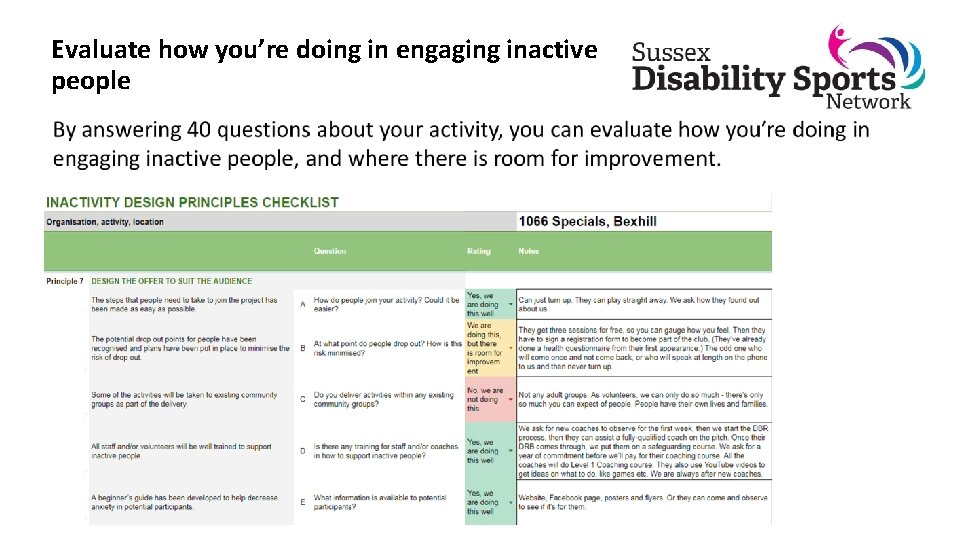 Evaluate how you're doing in engaging inactive people
