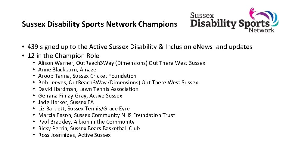 Sussex Disability Sports Network Champions • 439 signed up to the Active Sussex Disability