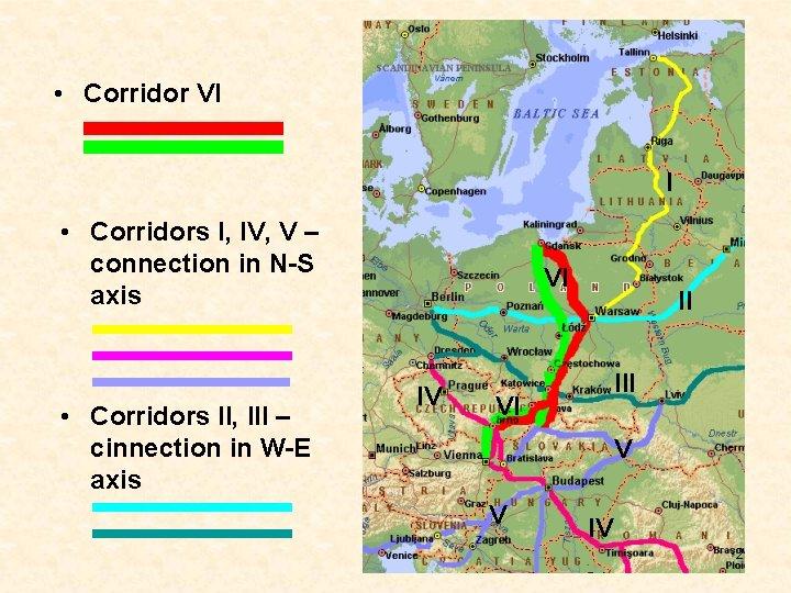 • Corridor VI I • Corridors I, IV, V – connection in N-S