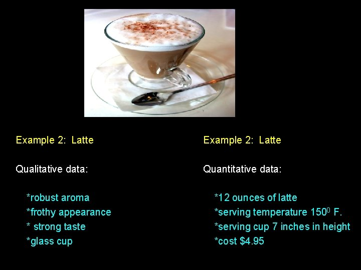 Example 2: Latte Qualitative data: Quantitative data: *robust aroma *frothy appearance * strong taste