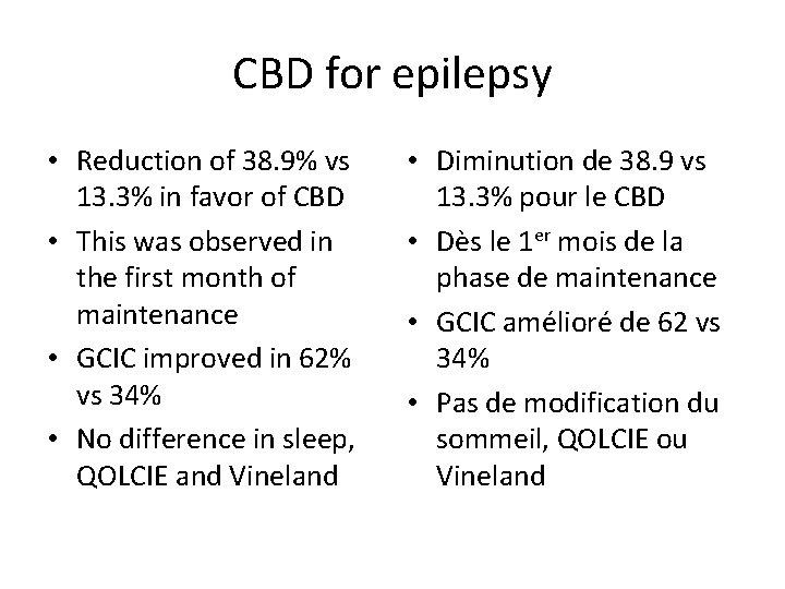 CBD for epilepsy • Reduction of 38. 9% vs 13. 3% in favor of