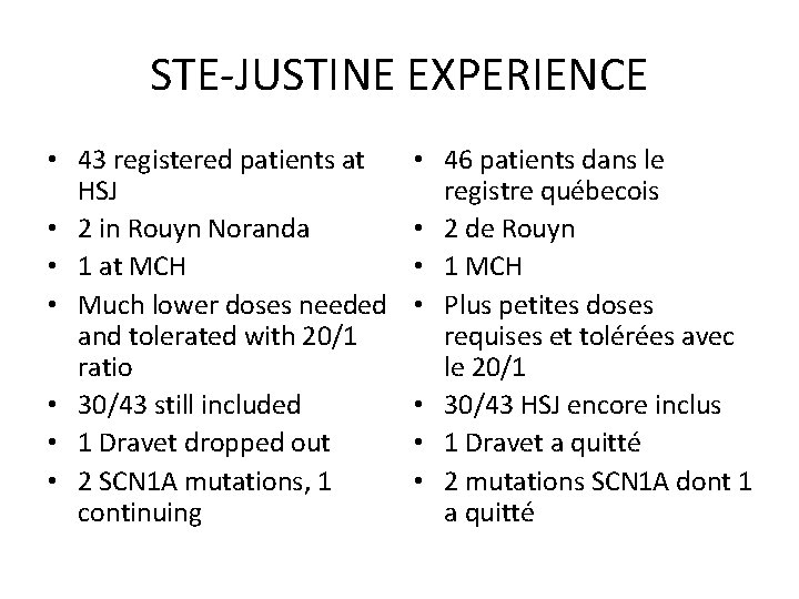 STE-JUSTINE EXPERIENCE • 43 registered patients at HSJ • 2 in Rouyn Noranda •