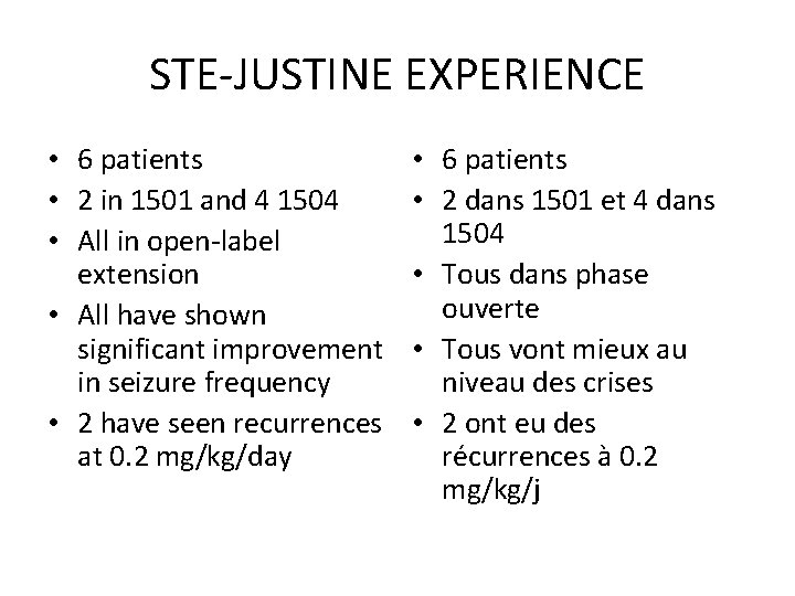 STE-JUSTINE EXPERIENCE • 6 patients • 2 in 1501 and 4 1504 • All