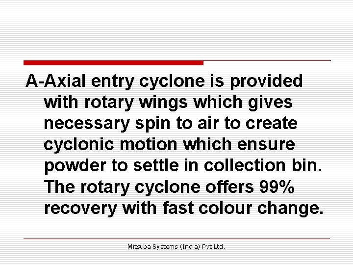 A-Axial entry cyclone is provided with rotary wings which gives necessary spin to air