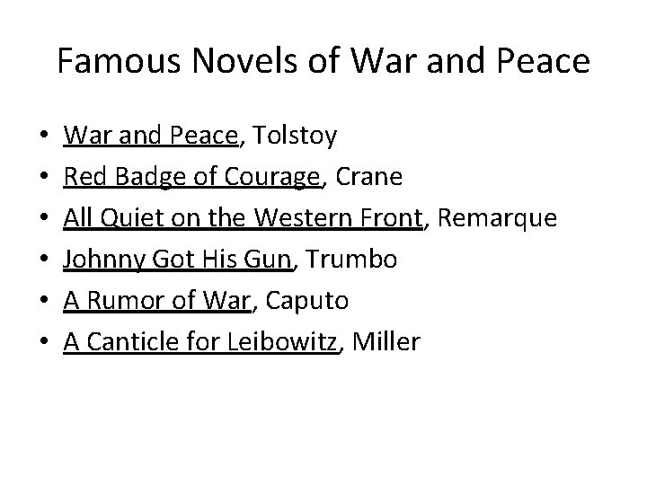 Famous Novels of War and Peace • • • War and Peace, Tolstoy Red