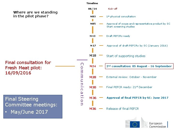 Timeline 06/14 Where are we standing in the pilot phase? Final Steering Committee meetings:
