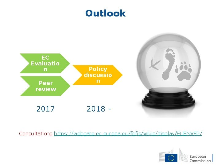 Outlook EC Evaluatio n Peer review 2017 Policy discussio n 2018 - Consultations https:
