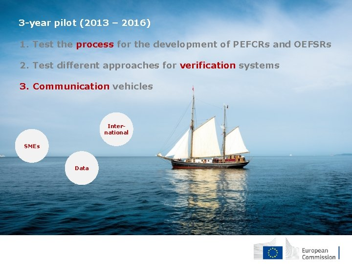 3 -year pilot (2013 – 2016) 1. Test the process for the development of