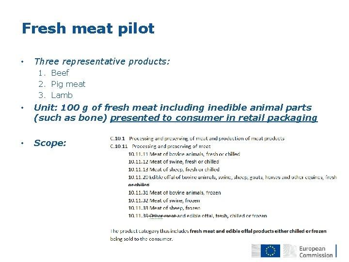 Fresh meat pilot • Three representative products: 1. Beef 2. Pig meat 3. Lamb