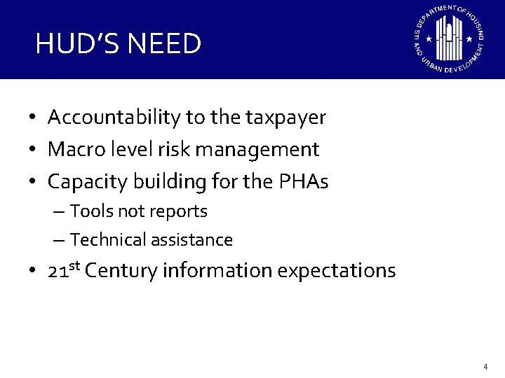 HUD'S NEED • Accountability to the taxpayer • Macro level risk management • Capacity