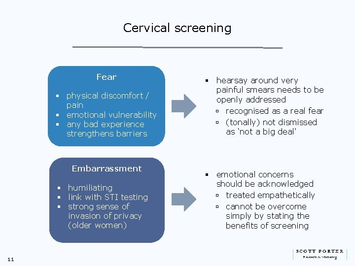 Cervical screening Fear § physical discomfort / pain § emotional vulnerability § any bad