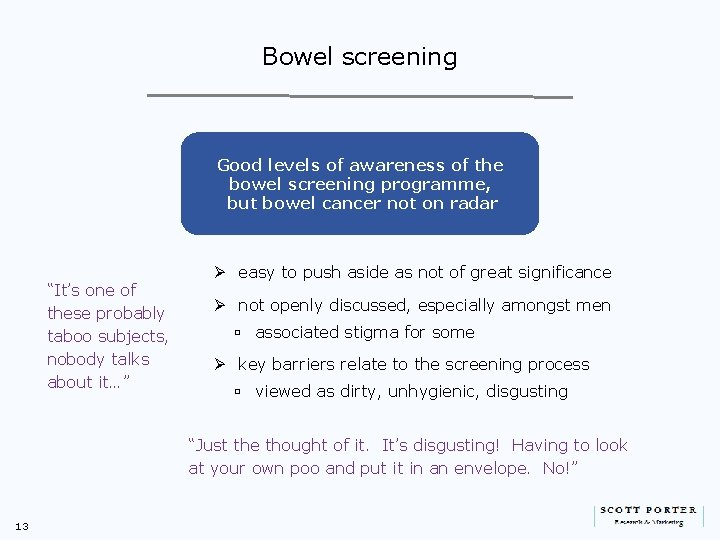 Bowel screening Good levels of awareness of the bowel screening programme, but bowel cancer