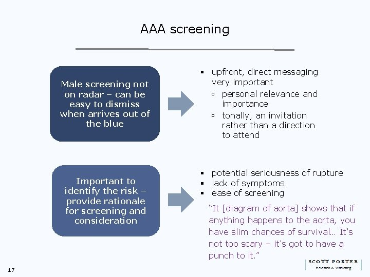 AAA screening Male screening not on radar – can be easy to dismiss when