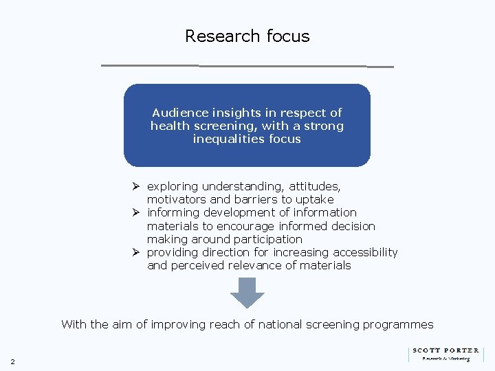 Research focus Audience insights in respect of health screening, with a strong inequalities focus
