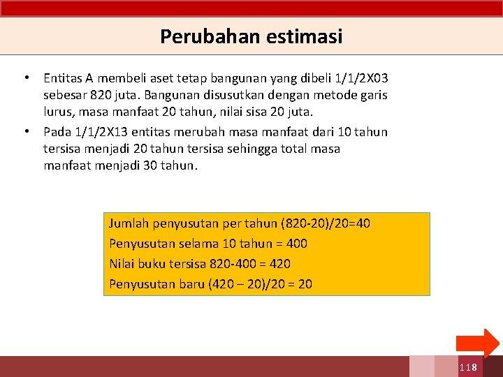 Perubahan estimasi • Entitas A membeli aset tetap bangunan yang dibeli 1/1/2 X 03
