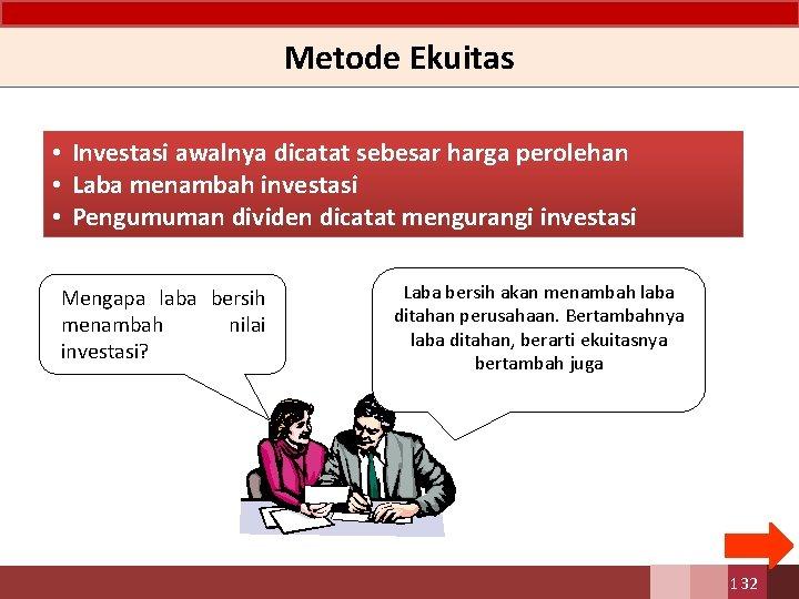 Metode Ekuitas • Investasi awalnya dicatat sebesar. harga perolehan • Laba menambah investasi •