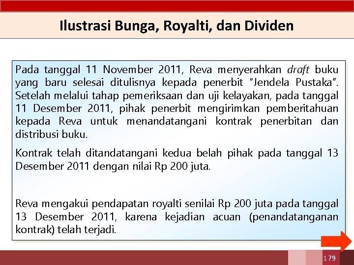 Ilustrasi Bunga, Royalti, dan Dividen Pada tanggal 11 November 2011, Reva menyerahkan draft buku