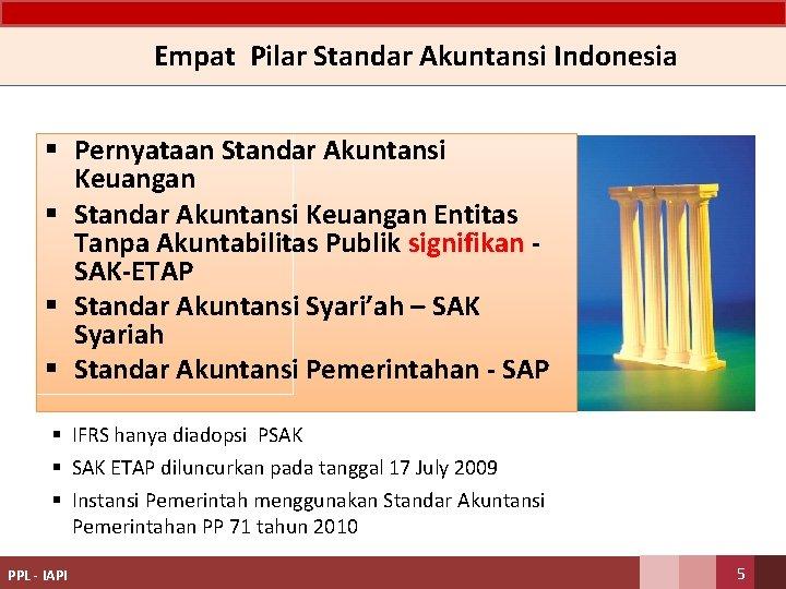 Empat Pilar Standar Akuntansi Indonesia § Pernyataan Standar Akuntansi Keuangan § Standar Akuntansi Keuangan