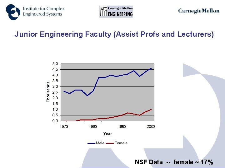 Junior Engineering Faculty (Assist Profs and Lecturers) NSF Data -- female ~ 17%