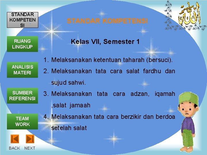 STANDAR KOMPETEN SI RUANG LINGKUP STANDAR KOMPETENSI Kelas VII, Semester 1 1. Melaksanakan ketentuan