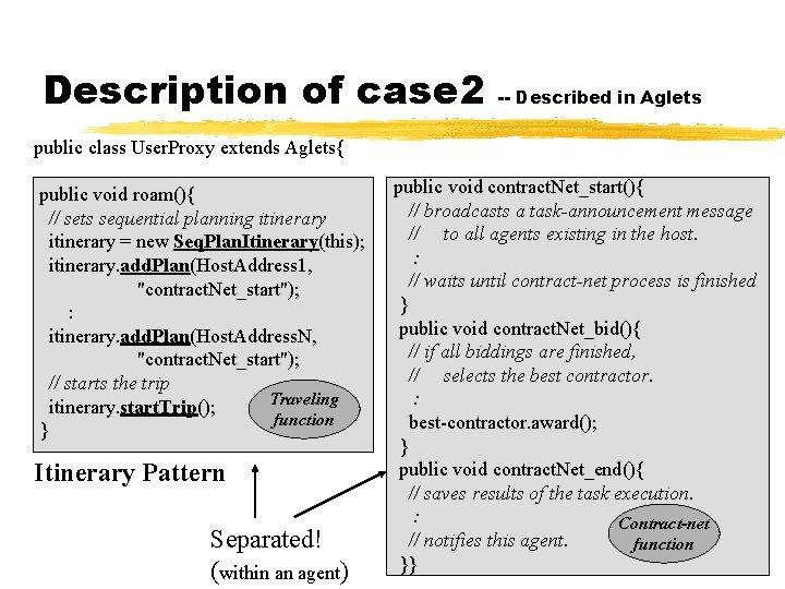 Description of case 2 -- Described in Aglets public class User. Proxy extends Aglets{