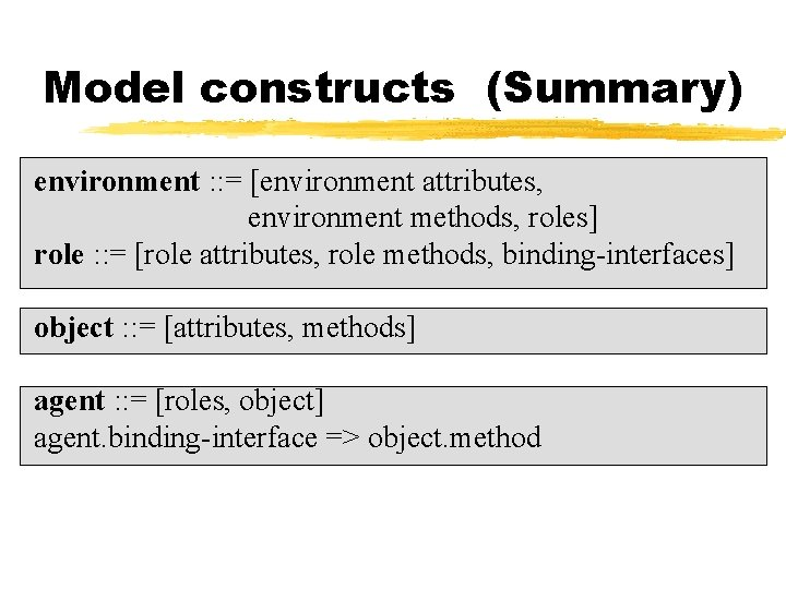 Model constructs (Summary) environment : : = [environment attributes, environment methods, roles] role :