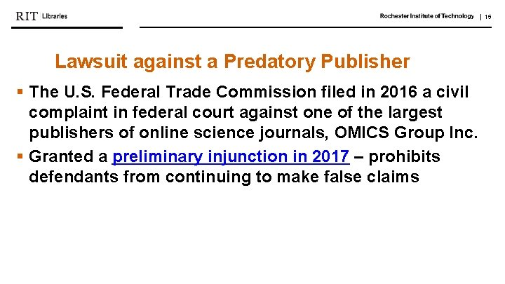   15 Lawsuit against a Predatory Publisher § The U. S. Federal Trade Commission