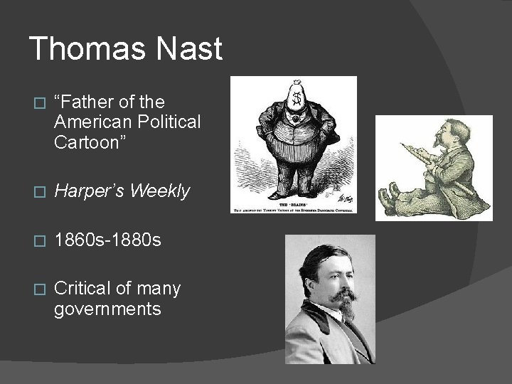 """Thomas Nast � """"Father of the American Political Cartoon"""" � Harper's Weekly � 1860"""