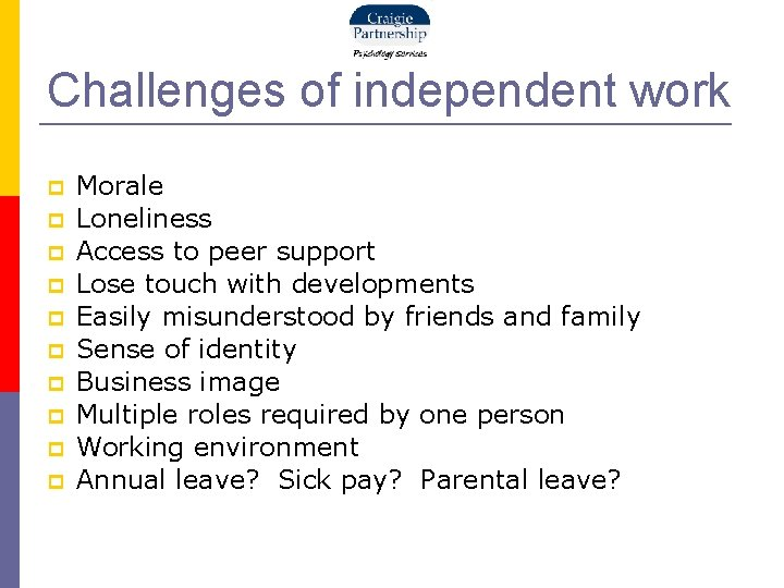 Challenges of independent work Morale Loneliness Access to peer support Lose touch with developments
