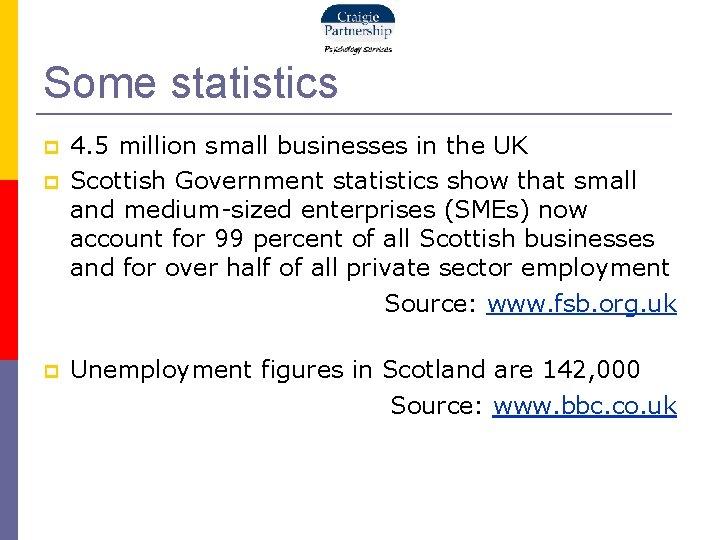 Some statistics 4. 5 million small businesses in the UK Scottish Government statistics show