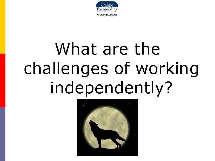 What are the challenges of working independently?