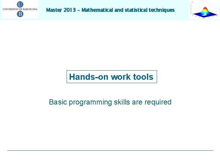 Master 2013 – Mathematical and statistical techniques Hands-on work tools Basic programming skills are