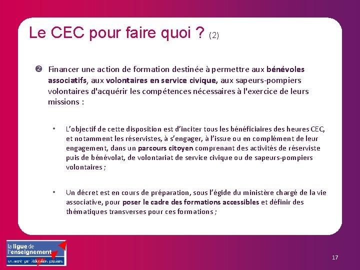 Le CEC pour faire quoi ? (2) Financer une action de formation destinée à
