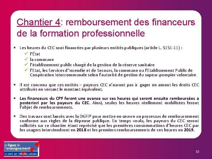 Chantier 4: remboursement des financeurs de la formation professionnelle § Les heures du CEC
