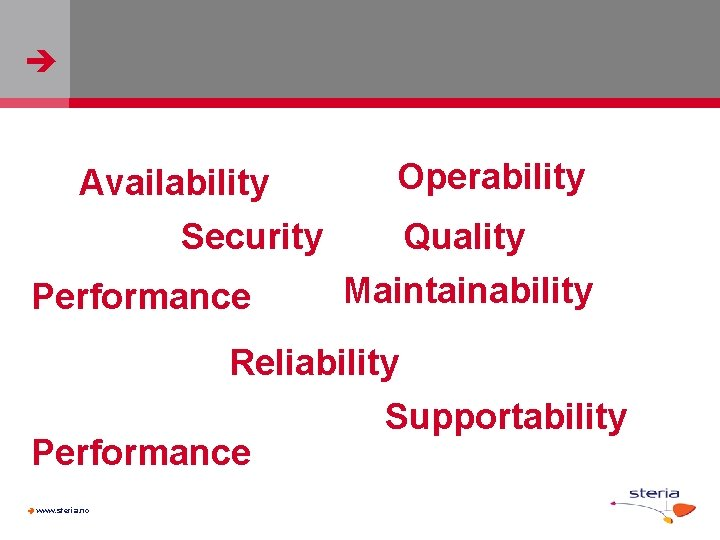 Availability Security Performance Operability Quality Maintainability Reliability Supportability Performance www. steria. no