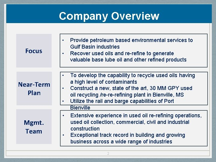 Company Overview • Focus • • Near-Term Plan • • Mgmt. Team • •