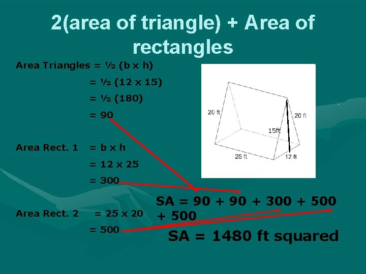 2(area of triangle) + Area of rectangles Area Triangles = ½ (b x h)
