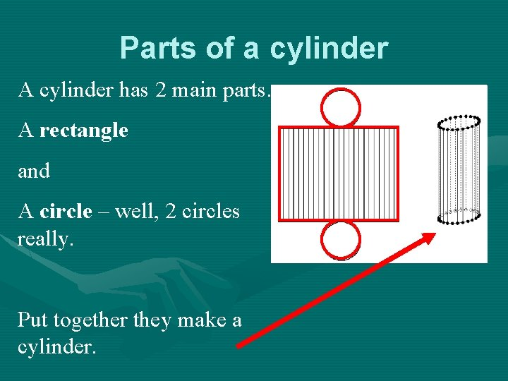 Parts of a cylinder A cylinder has 2 main parts. A rectangle and A