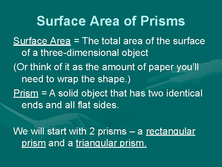 Surface Area of Prisms Surface Area = The total area of the surface of