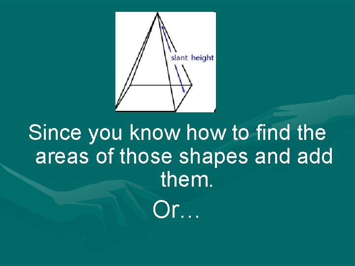 Since you know how to find the areas of those shapes and add them.