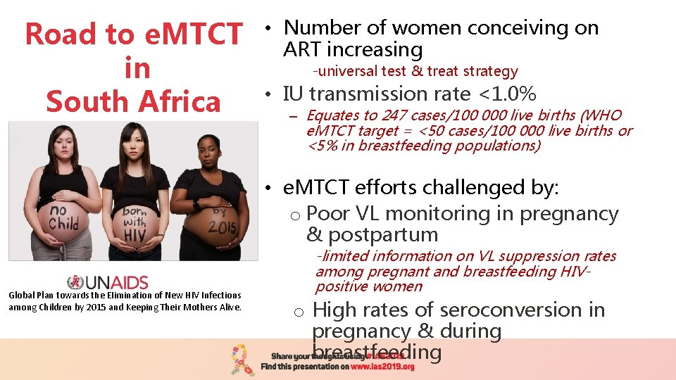 Road to e. MTCT in South Africa • Number of women conceiving on ART