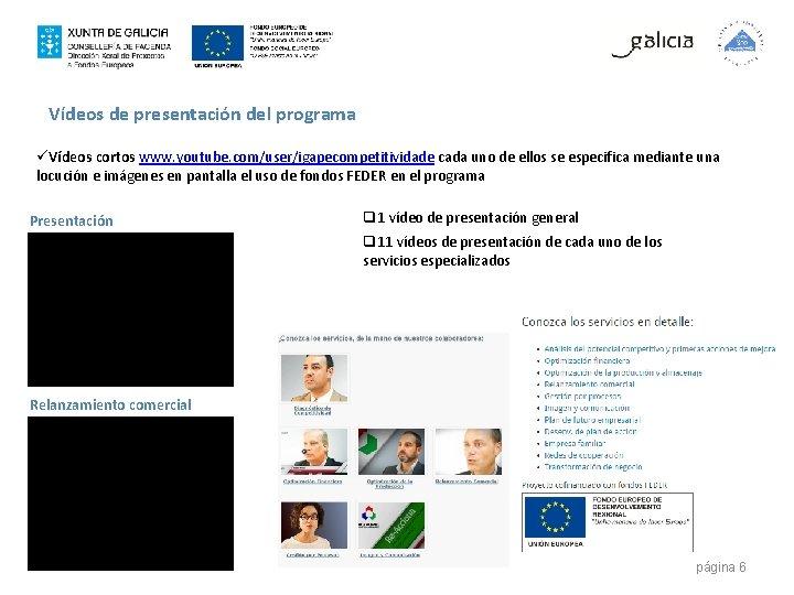 Vídeos de presentación del programa üVídeos cortos www. youtube. com/user/igapecompetitividade cada uno de ellos